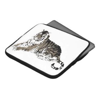 Relaxing Tiger Laptop Sleeves